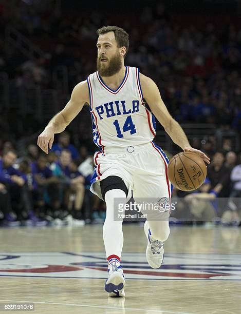 Sergio Rodriguez of the Philadelphia 76ers dribbles the ball against the Charlotte Hornets at the Wells Fargo Center on January 13 2017 in...