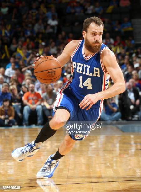 Sergio Rodriguez of the Philadelphia 76ers drives to the basket against the Oklahoma City Thunder during the game on March 22 2017 at Chesapeake...