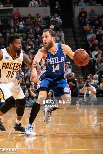 Sergio Rodriguez of the Philadelphia 76ers handles the ball against the Indiana Pacers on March 26 2017 at Bankers Life Fieldhouse in Indianapolis...