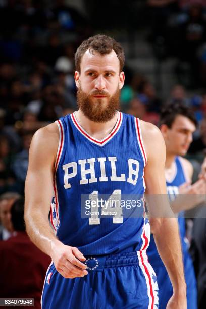 Sergio Rodriguez of the Philadelphia 76ers looks on during the game against the Dallas Mavericks on February 1 2017 at the American Airlines Center...