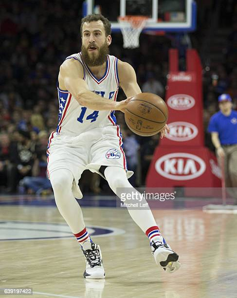 Sergio Rodriguez of the Philadelphia 76ers passes the ball against the Toronto Raptors at the Wells Fargo Center on January 18 2017 in Philadelphia...