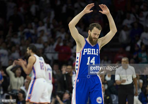 Sergio Rodriguez of the Philadelphia 76ers reacts in the final moments of the game in front of Steven Adams of the Oklahoma City Thunder at Wells...