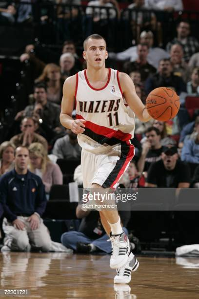 Sergio Rodriguez of the Portland Trail Blazers brings the ball down the court during a game against the Golden State Warriors on October 17 2006 at...