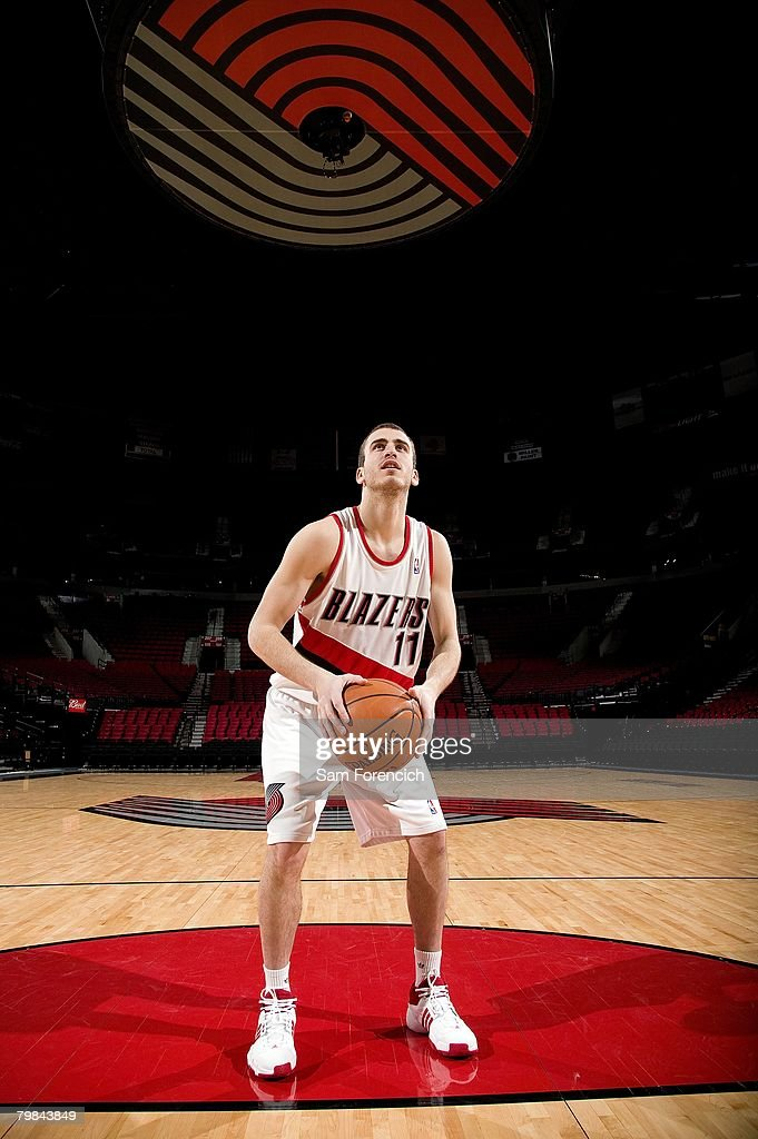 Sergio Rodriguez #11 of the Portland Trail Blazers prepares to shoot during the Portland Trail Blazers Media Day on January 7, 2008 at The Rose Garden in Portland, Oregon.