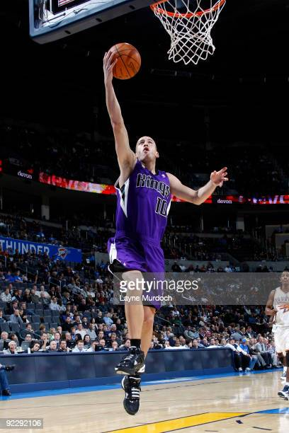 Sergio Rodriguez of the Sacremento Kings goes up for a layup during a game against the Oklahoma City Thunder on October 22 2009 at the Ford Center in...