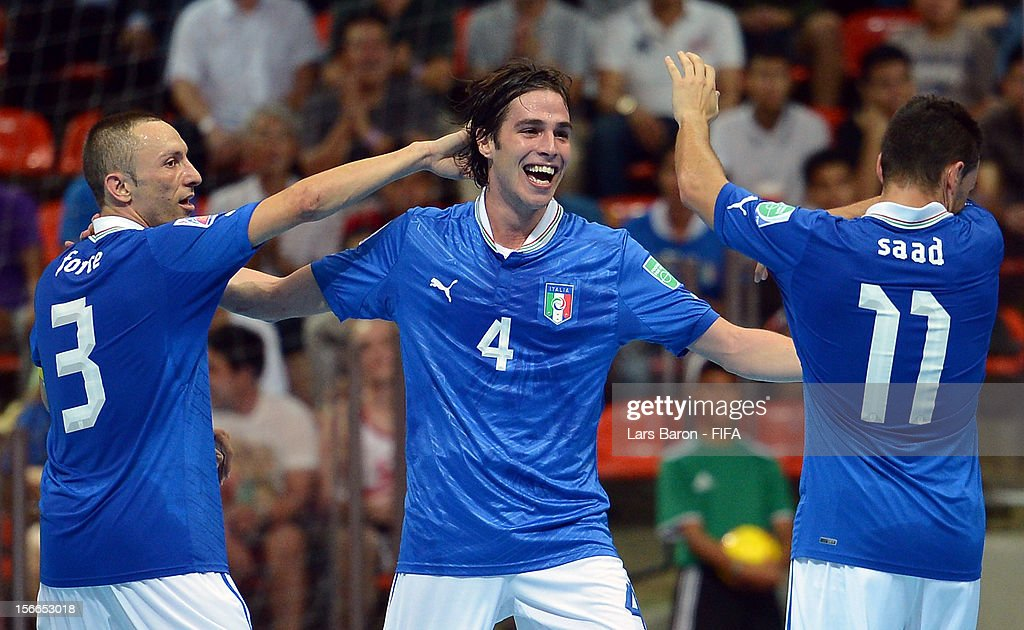 Sergio Romano of Italy celebrates after scoring his teams first goal during the FIFA Futsal World Cup 3rd/4th Playoff match at Indoor Stadium Huamark...