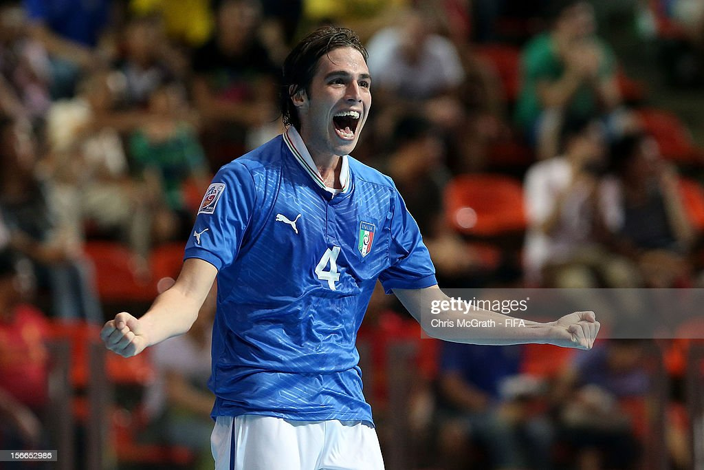 Sergio Romano of Italya celebrates scoring a goal against Colombia during the FIFA Futsal World Cup 3rd/4th Playoff match between Italy and Colombia...