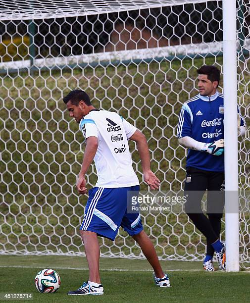 Sergio Romero and Agustin Orion of Argentina during a training session at Cidade do Galo on June 26 2014 in Vespasiano Brazil