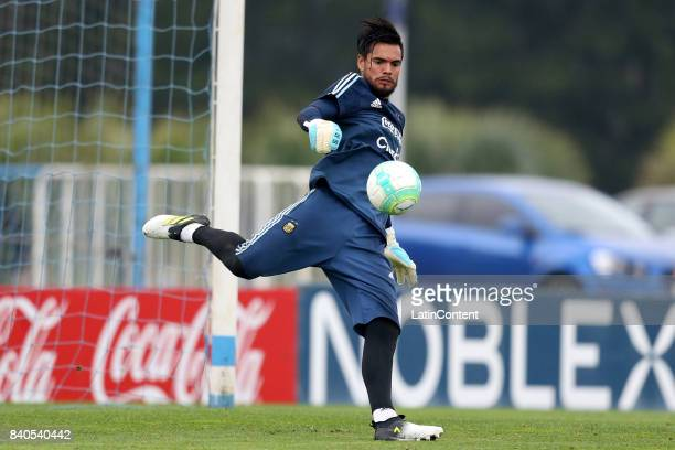 Sergio Romero goalkeeper of Argentina kicks the ball during a training session at 'Julio Humberto Grondona' training camp on August 29 2017 in Ezeiza...