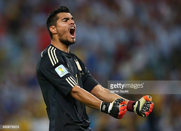 Sergio Romero of Argentina celebrates after defeating Bosnia and Herzegovina 21 during the 2014 FIFA World Cup Brazil Group F match between Argentina...