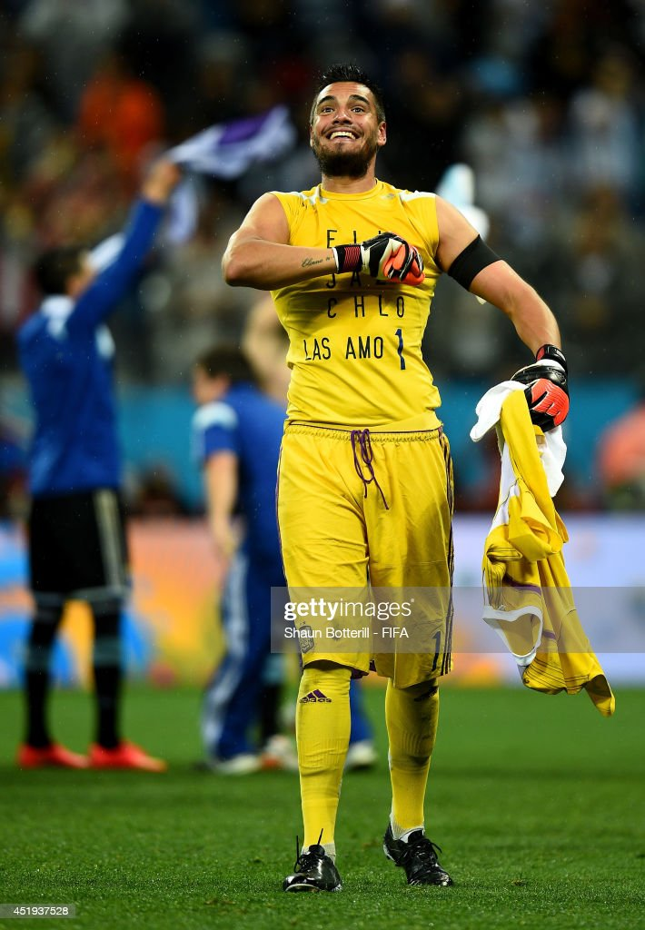 Sergio Romero of Argentina celebrates the win after the 2014 FIFA World Cup Brazil Semi Final match between Netherlands and Argentina at Arena de Sao Paulo on July 9, 2014 in Sao Paulo, Brazil.