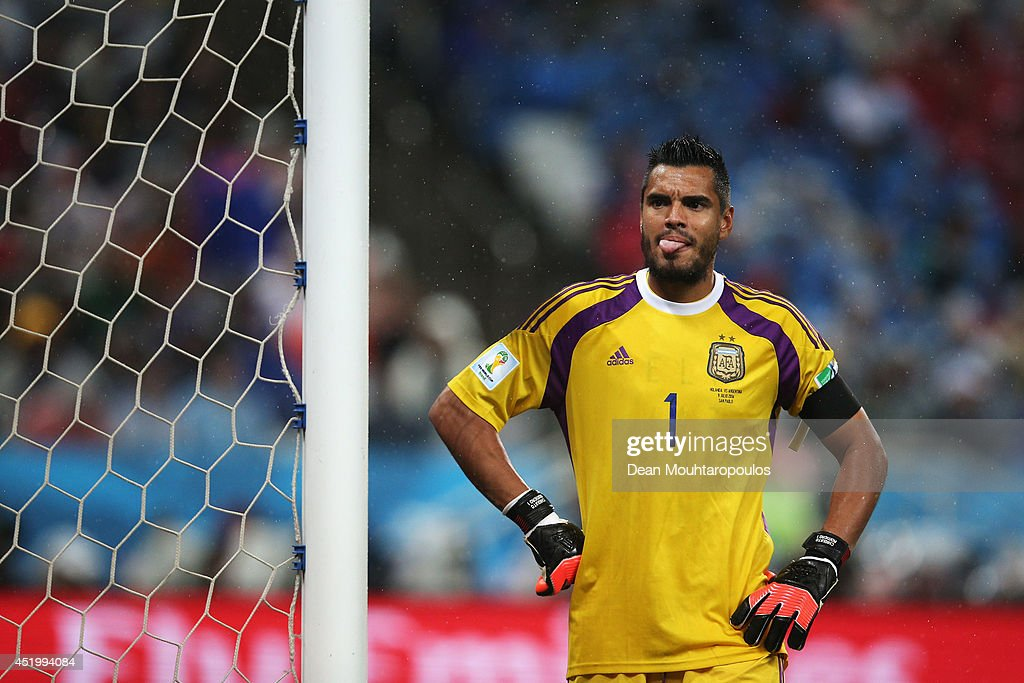 Sergio Romero of Argentina looks on during the 2014 FIFA World Cup Brazil Semi Final match between the Netherlands and Argentina at Arena de Sao Paulo on July 9, 2014 in Sao Paulo, Brazil.