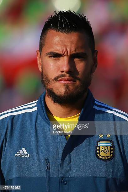 Sergio Romero of Argentina looks on during the national anthem ceremony prior the 2015 Copa America Chile Final match between Chile and Argentina at...