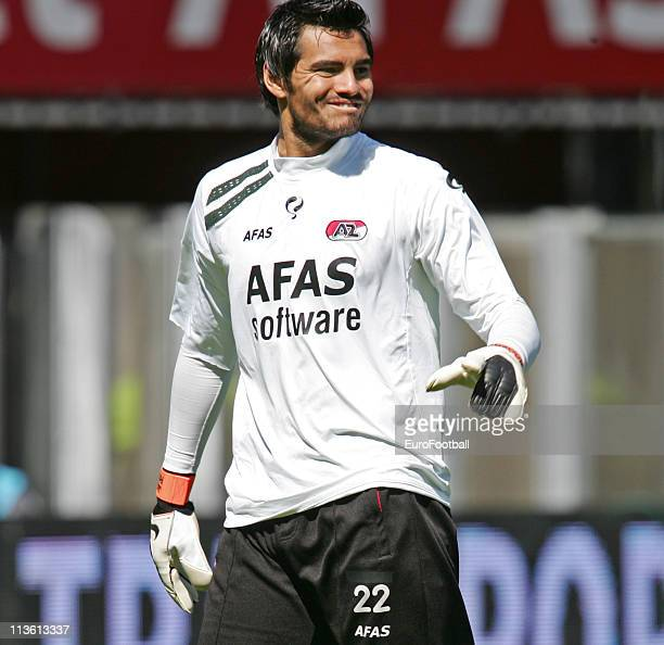 Sergio Romero of AZ Alkmaar in action during the Eredivisie match between AZ Alkmaar and De Graafschap at AZ Stadion on May 1 2011 in Alkmaar...
