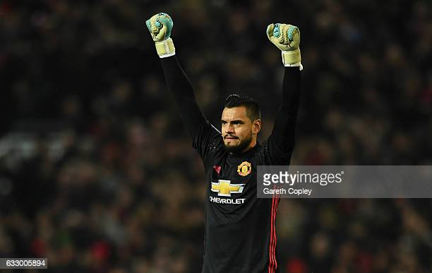 Sergio Romero of Manchester United celebrates as Marouane Fellaini of Manchester United scores their first goal during the Emirates FA Cup Fourth...