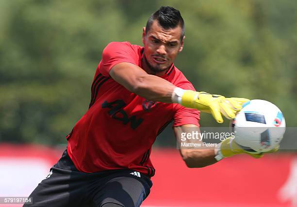 Sergio Romero of Manchester United in action during a first team training session as part of their preseason tour of China at Century Park on July 23...