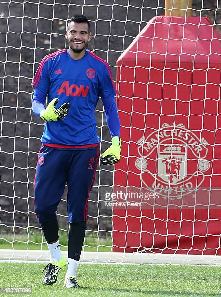 Sergio Romero of Manchester United in action during a first team training session at Aon Training Complex on August 5 2015 in Manchester England