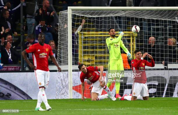 Sergio Romero of Manchester United picks the ball out of the net after Anderlecht score their first goal during the UEFA Europa League quarter final...