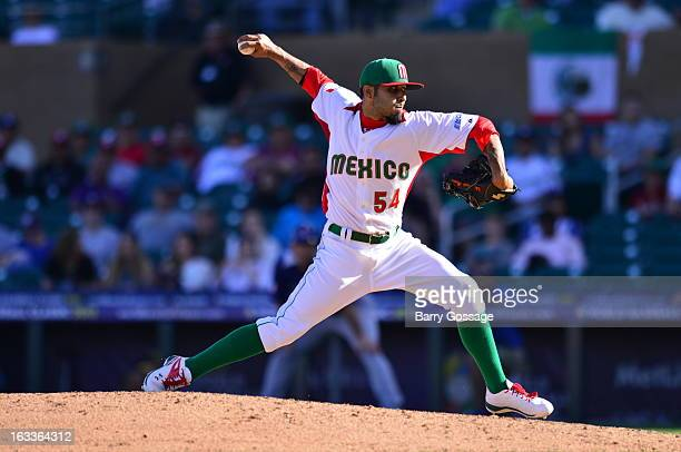 Sergio Romo of Team Mexico pitches during Pool D Game 1 between Italy and Mexico in the first round of the 2013 World Baseball Classic at Salt River...