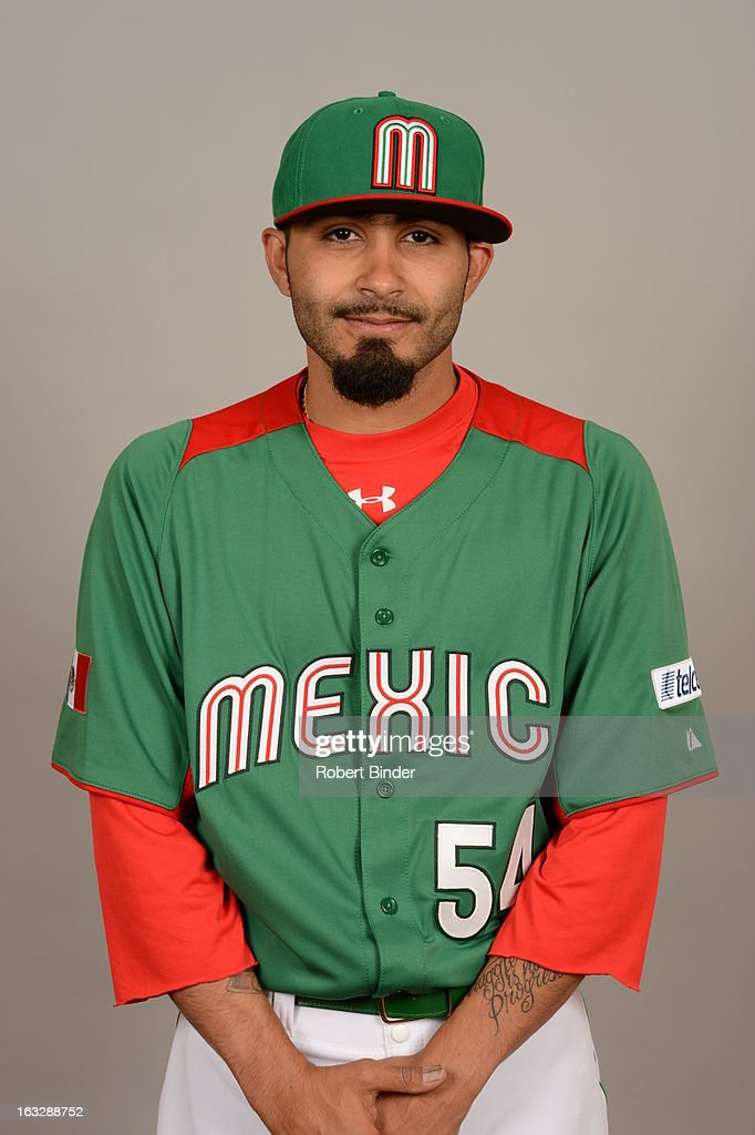 <a gi-track='captionPersonalityLinkClicked' href=/galleries/search?phrase=Sergio+Romo&family=editorial&specificpeople=5433590 ng-click='$event.stopPropagation()'>Sergio Romo</a> #54 of Team Mexico poses for a headshot for the 2013 World Baseball Classic on Monday, March 4, 2013 at Camelback Ranch in Glendale, Arizona.