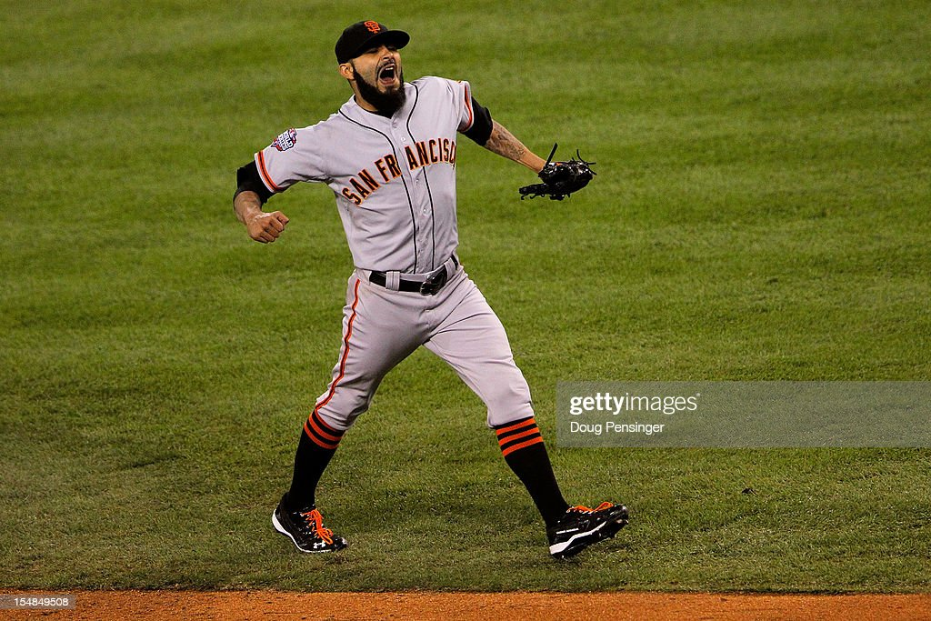 <a gi-track='captionPersonalityLinkClicked' href=/galleries/search?phrase=Sergio+Romo&family=editorial&specificpeople=5433590 ng-click='$event.stopPropagation()'>Sergio Romo</a> #54 of the San Francisco Giants celebrates after striking out Omar Infante #4 of the Detroit Tigers to win Game Three of the Major League Baseball World Series at Comerica Park on October 27, 2012 in Detroit, Michigan. The San Francisco Giants defeated the Detroit Tigers 2-0.