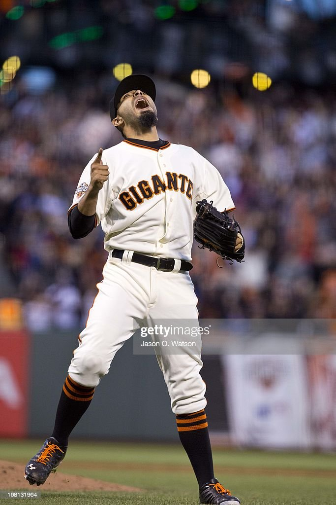 <a gi-track='captionPersonalityLinkClicked' href=/galleries/search?phrase=Sergio+Romo&family=editorial&specificpeople=5433590 ng-click='$event.stopPropagation()'>Sergio Romo</a> #54 of the San Francisco Giants celebrates after the game against the Los Angeles Dodgers at AT&T Park on May 5, 2013 in San Francisco, California. The San Francisco Giants defeated the Los Angeles Dodgers 4-3.