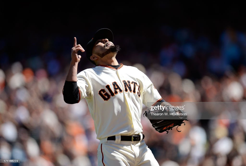<a gi-track='captionPersonalityLinkClicked' href=/galleries/search?phrase=Sergio+Romo&family=editorial&specificpeople=5433590 ng-click='$event.stopPropagation()'>Sergio Romo</a> #54 of the San Francisco Giants celebrates his performance after he was taken out of the game in the tenth inning against the Miami Marlins at AT&T Park on June 22, 2013 in San Francisco, California.