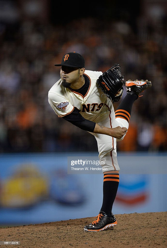 <a gi-track='captionPersonalityLinkClicked' href=/galleries/search?phrase=Sergio+Romo&family=editorial&specificpeople=5433590 ng-click='$event.stopPropagation()'>Sergio Romo</a> #54 of the San Francisco Giants pitches against the Colorado Rockies in the ninth inning at AT&T Park on April 8, 2013 in San Francisco, California. The Giants won the game 4-2.