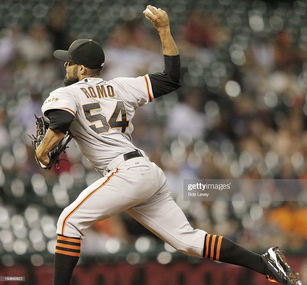 <a gi-track='captionPersonalityLinkClicked' href=/galleries/search?phrase=Sergio+Romo&family=editorial&specificpeople=5433590 ng-click='$event.stopPropagation()'>Sergio Romo</a> #54 of the San Francisco Giants pithes in the ninth inning against the Houston Astros at Minute Maid Park on August 28, 2012 in Houston, Texas. Giants defeat the Astros 3-2.