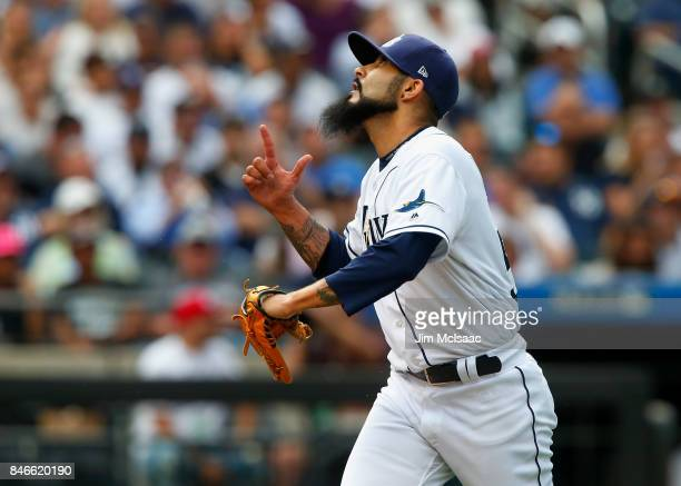 Sergio Romo of the Tampa Bay Rays reacts after the eighth inning against the New York Yankees at Citi Field on September 13 2017 in the Flushing...