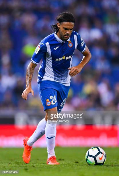 Sergio Sanchez of RCD Espanyol runs with the ball during the La Liga match between Espanyol and Levante at CornellaEl Prat stadium on October 13 2017...