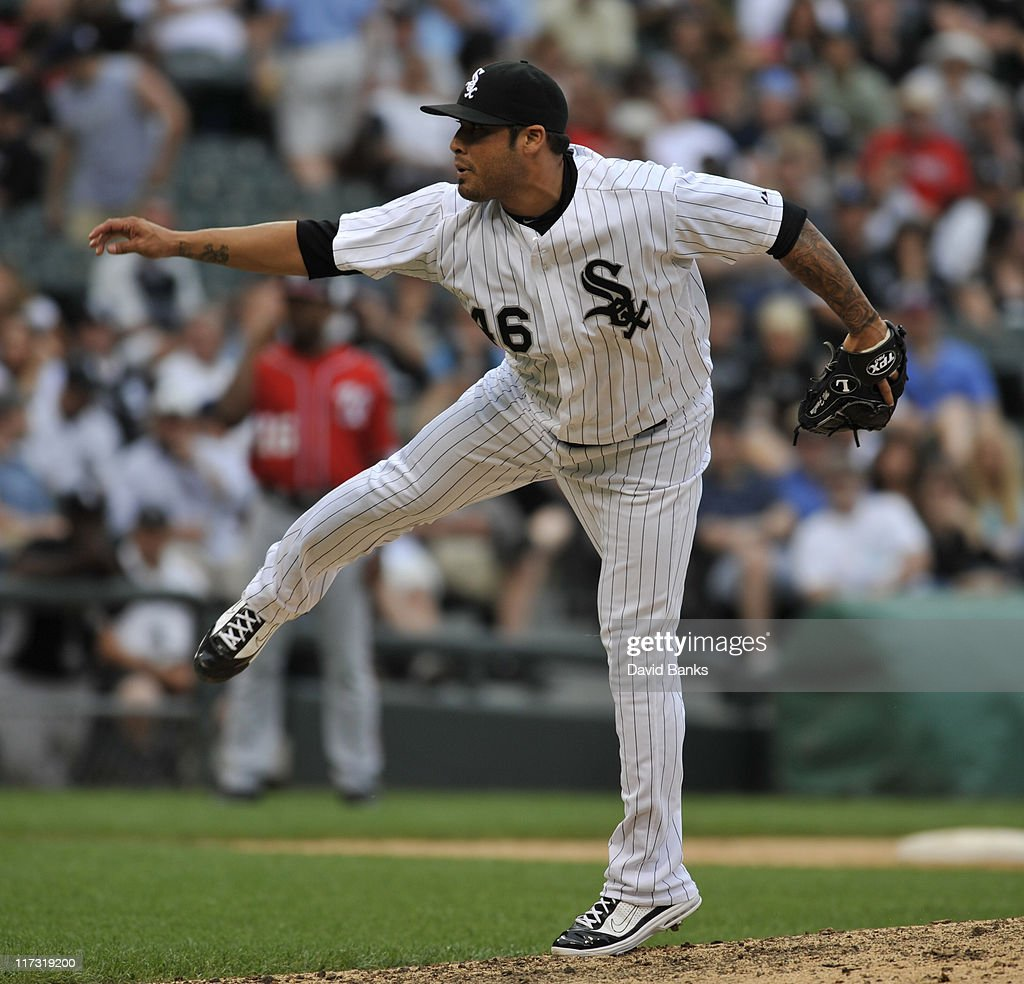 Sergio Santos # 46 of the Chicago White Sox pitches against the Washington Nationals on June 25, 2011 at U.S. Cellular Field in Chicago, Illinois. The White sox defeated the Nationals 3-0.