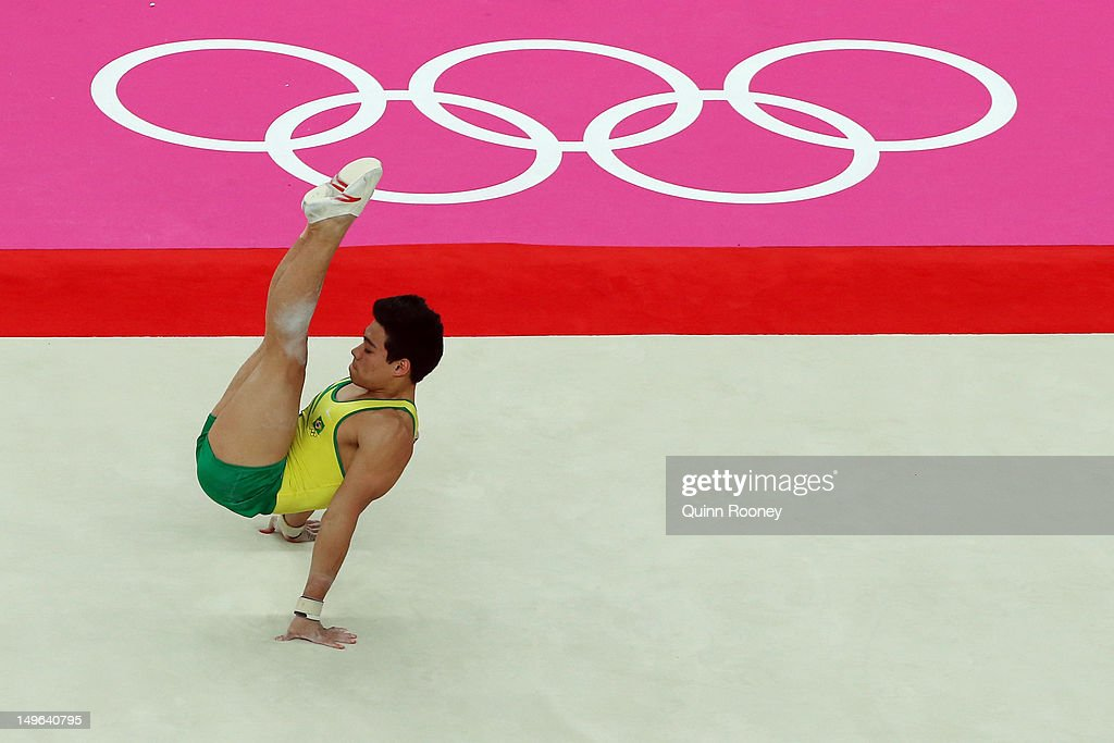 Sergio Sasaki Junior of Brazil competes on the floor in the Artistic Gymnastics Men's Individual AllAround final on Day 5 of the London 2012 Olympic...