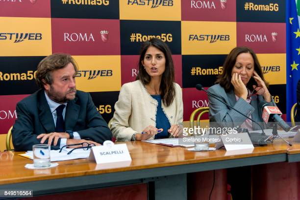 Sergio Scalpelli Director of External Relations and Institutions of Fastweb Virginia Raggi Mayor of Rome and Flavia Marzano Councillor in Rome Simple...