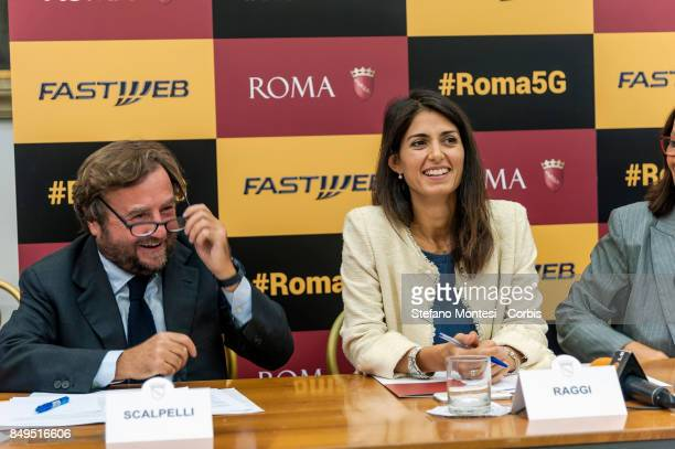 Sergio Scalpelli Director of External Relations and Institutions of Fastweb and Virginia Raggi Mayor of Rome during the press conference for the...