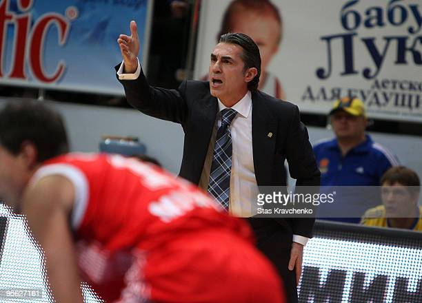 Sergio Scariolo Head Coach of BC Khimki in action during the Euroleague Basketball Regular Season 20092010 Game Day 9 between BC Khimki Moscow Region...