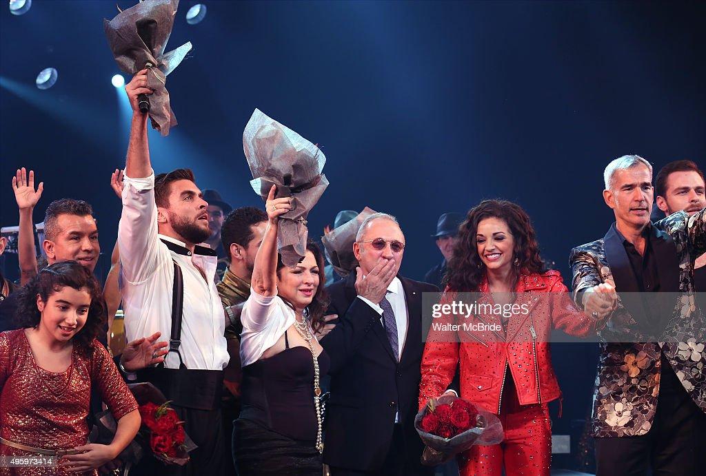 Sergio Trujillo Josh Segarra Gloria Estefan Emilio Estefan Ana Villafane Jerry Mitchell and cast during the Broadway opening night curtain call bows...