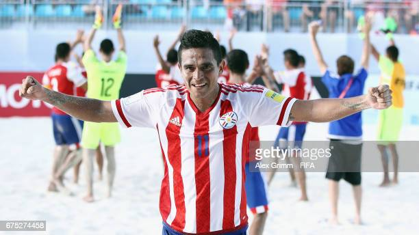 Sergio Villaverde of Paraguay celebrates after the FIFA Beach Soccer World Cup Bahamas 2017 group C match between Paraguay and Portugal at National...
