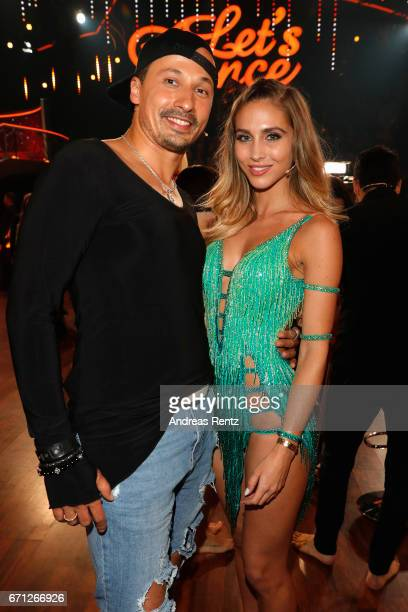 Sergiu Luca and AnnKathrin Broemmel pose after the 5th show of the tenth season of the television competition 'Let's Dance' on April 21 2017 in...
