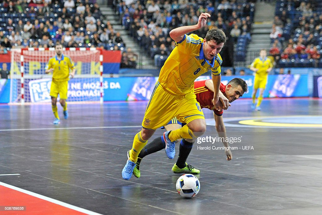 Sergiy Koval of Ukraine and Alex of Spain in action during the UEFA Futsal EURO 2016 match between Ukraine and Spain at Arena Belgrade on February 6, 2016 in Belgrade, Serbia.