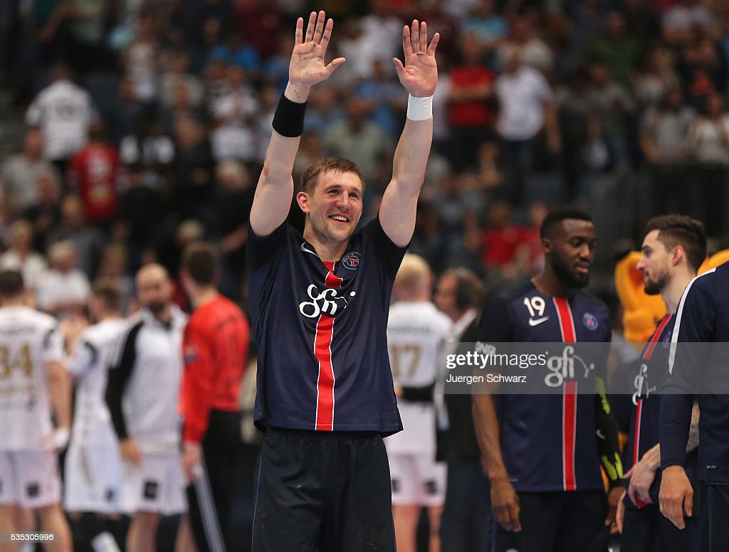 Sergiy Onufryienko of Paris celebrates after winning the third place play-off at the EHF Final4 between Paris St.-Germain and THW Kiel on May 29, 2016 in Cologne, Germany.