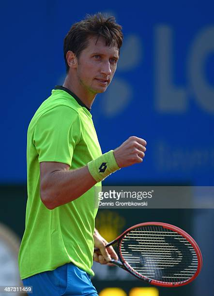 Sergiy Stakhovsky of Ukraine celebrates winning his match against Peter Gojowczyk of Germany during the BMW Open on April 29 2014 in Munich Germany