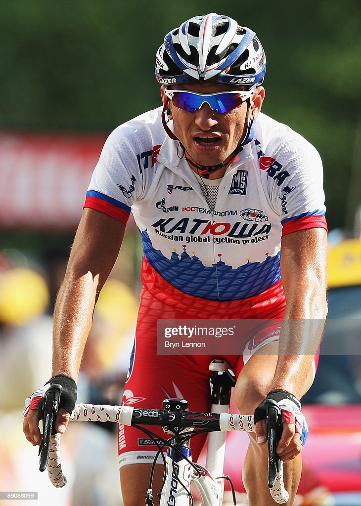 Serguei Ivanov of Russia and the Katusha team celebrates winning stage 14 of the 2009 Tour de France from Colmar to Besancon on July 18, 2009 in Besancon, France.