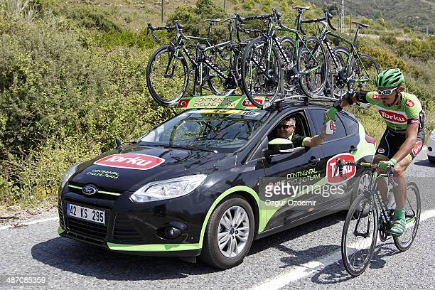 Sergueiy Grechyn of Ukraine and team Torku Sekerspor rides through the Mediterranean resort town of Alanya during the first stage of the Presidencial...