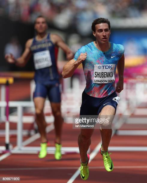 Sergy Shubenkov competes in the Men's 110 Hurdles heats during day three of the 16th IAAF World Athletics Championships London 2017 at The London...