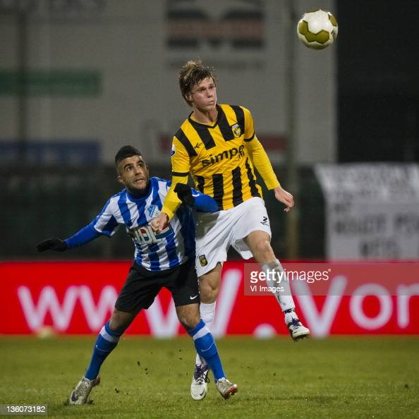 Serhat Koc of FC EindhovenTomas Kalas of Vitesse during the Dutch cup match between FC Eindhoven and Vitesse Arnhem at the Jan Louwers stadium on...