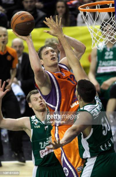 Serhiy Lischuk #12 of Power Electronics Valencia in action during the 20102011 Turkish Airlines Euroleague Top 16 Date 1 game between Power...