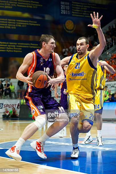 Serhiy Lishchuk of Valencia Basket competes with Alexey Zhukanenko #21 of BC Khimki Moscow Region during the 2012 Eurocup Basketball Final Game...