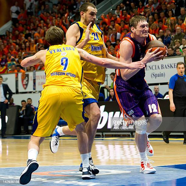 Serhiy Lishchuk of Valencia Basket Egor Vyaltsev and Alexey Zhukanenko of BC Khimki Moscow Region in action during the 2012 Eurocup Basketball Final...