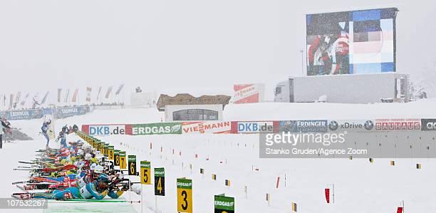Serhiy Semenov of the Ukraine in action during the IBU World Cup Biathlon MenÕs 125 km Pursuit on December 11 2010 in Hochfilzen Austria